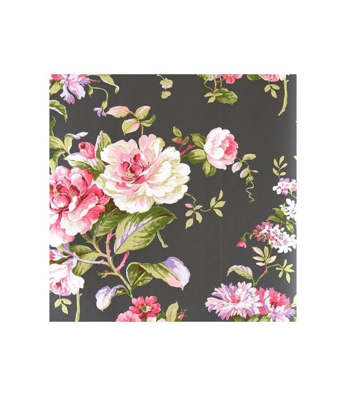 Papel pintado aromas de danslemur con flores negro rosa - Papel pintado negro ...