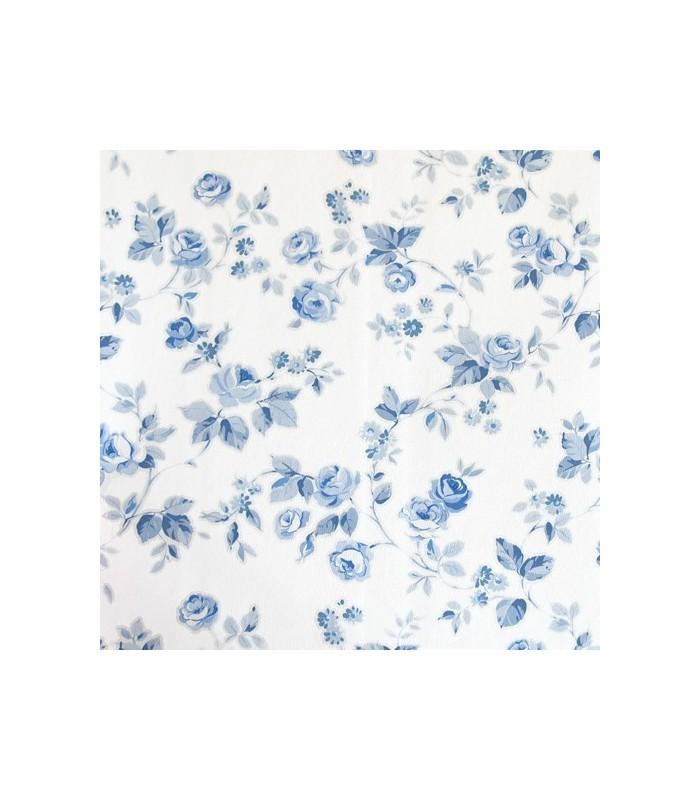 Papel pintado aromas de danslemur con flores azul y blanco for Papel pintado azul