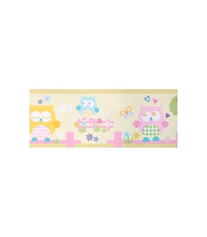 Cenefa coconet de dandino con dibujos de buhos beige - Cenefa adhesiva infantil ...