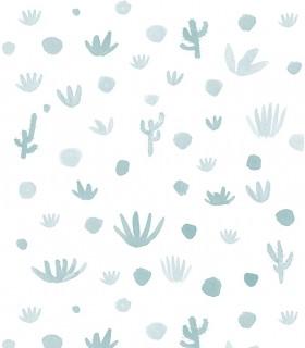 Papel pintado Pint cactus azul egeo 35013